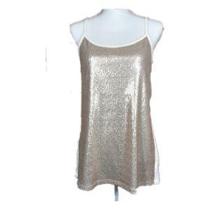 🎉 5/$40 🎉 Torrid Gold Sequin Tank Top Size L